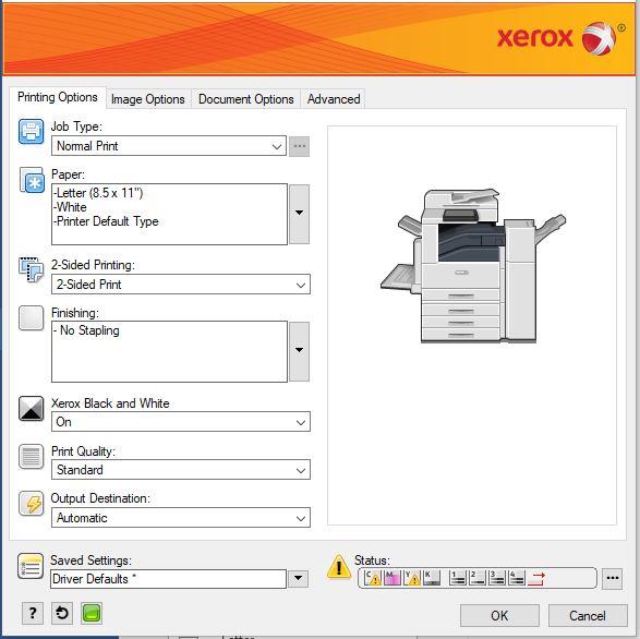 Xerox Printing Options screen