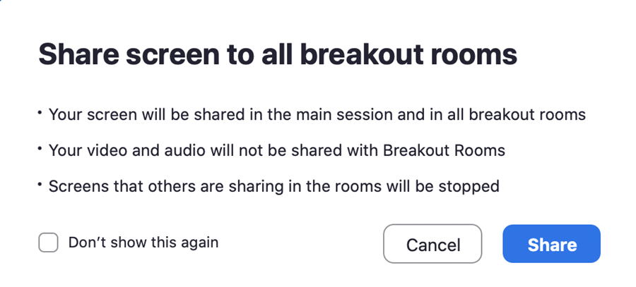 Share screen to all breakout rooms pop-up