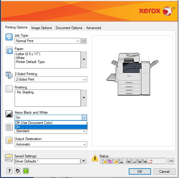 Xerox Select Color Options screen