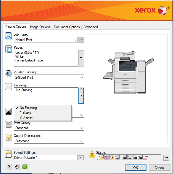 Xerox Select Stapling Finishing Options screen