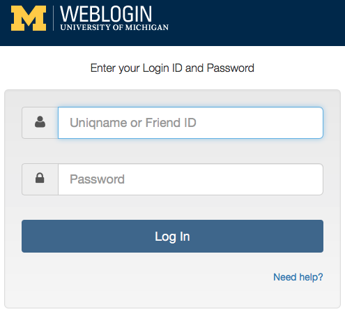U-M Weblogin Panel