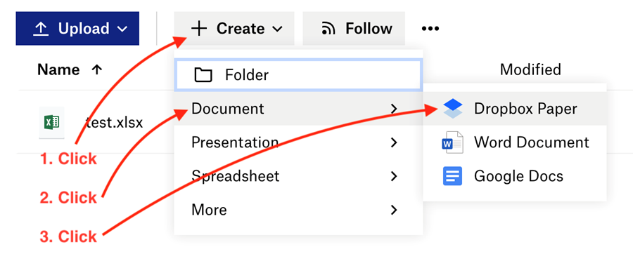 Screenshot of steps 1, 2, and 3 with arrows pointing to the create menu, then the Document menu, then Dropbox Paper on the far right