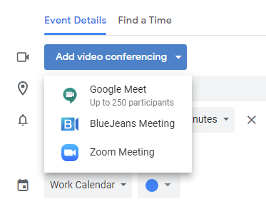 Screenshot of Event Details section of Google Calendar event. Add video conferencing button displayed with drop-down options.