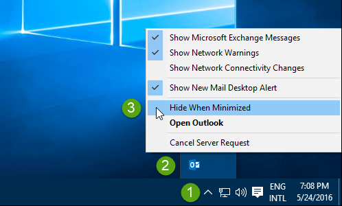 Image of the Outlook icon menu with several options, including Hide When Minimized. Some of the items have a checkmark next to them. The cursor is pointed to Hide When Minimized, which does not have a cursor.