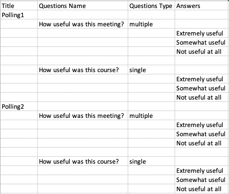 Polling CSV with Title, Questions Name, Questions Type, and Answers headings