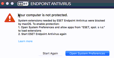 Example of the ESET warning pop-up