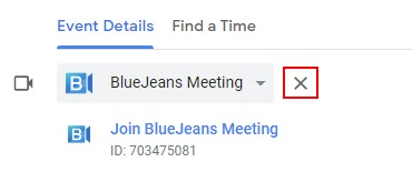 """Screenshot of Event Details in a Google Calendar event. Red box around the """"X""""."""