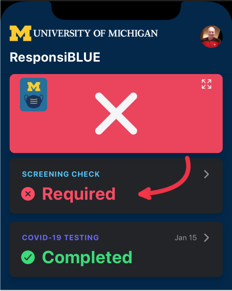 ResponsiBLUE box with a blue background and a large red box with a white X in it. There is a red arrow pointing to a line below it with the word Required in red. Under that is a line with the word Completed in green.