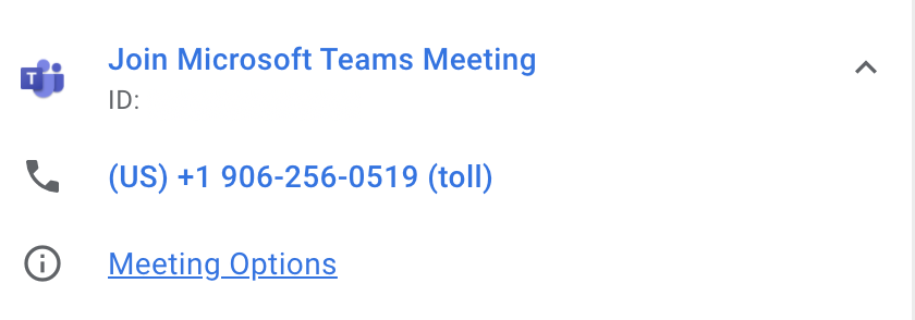 Google Calendar screenshot: Join Microsoft Teams Meeting, (US) +1 906-256-0519 (toll)
